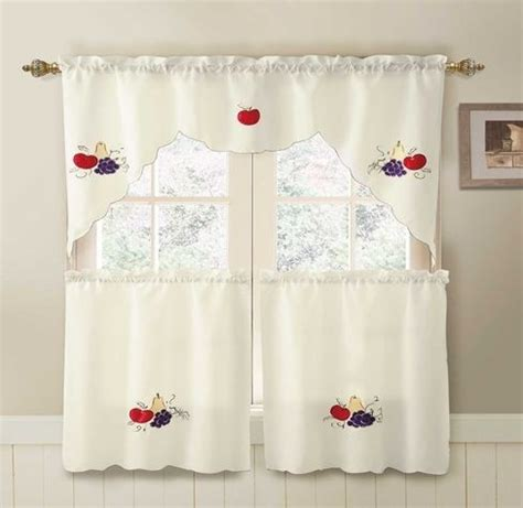 fruits ivory 3 pc kitchen curtain set kitchen curtains