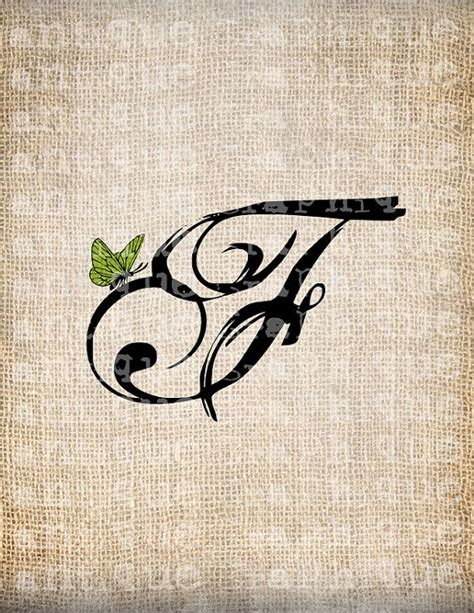 tattoo alphabet transfers antique letter f script monogram with butterfly digital