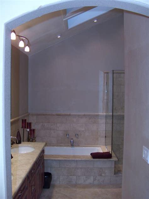 Kohler Bathtub Shower Doors Kohler Tub With Travertine Shower Frameless Shower Doors Modern Bathroom Orange County