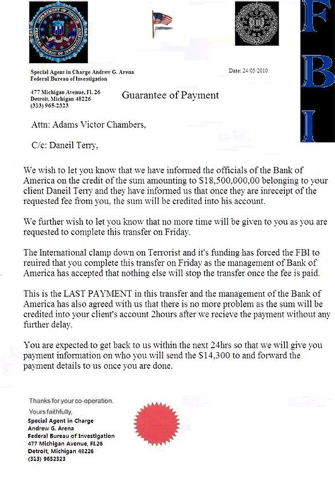 Report Letter Scams Fbi Scam E Mail Letter Claiming To Be Associated With Fbi Detroit Sac Arena