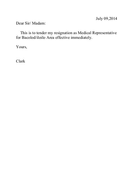 resignation letter effective immediately resignation