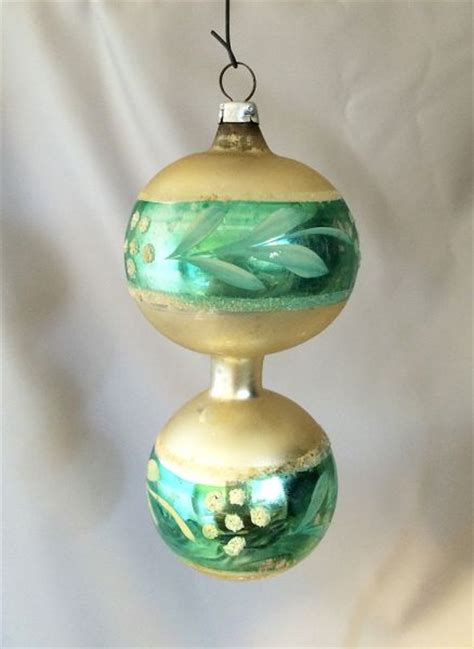 1940s vintage germany double sphere blown glass christmas