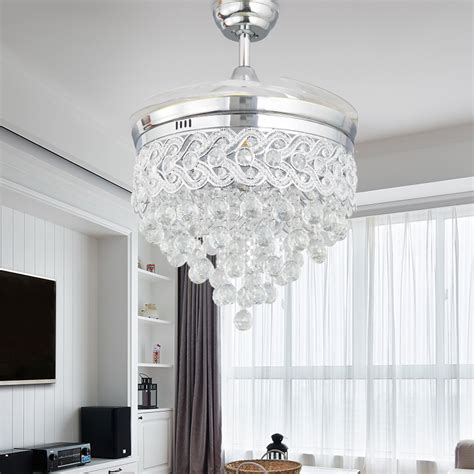 bedroom ceiling fans with remote control modern led chrome crystal ceiling fan with lights bedroom