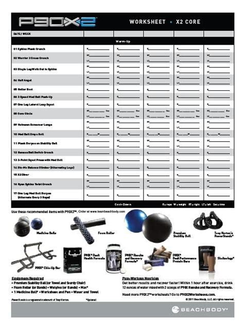 P90x2 Worksheets p90x2 worksheets for p90x