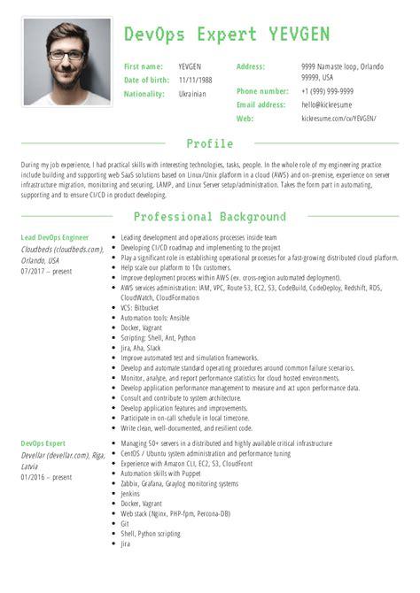 Devops Resume by Lead Devops Engineer Resume Sle Resume Sles