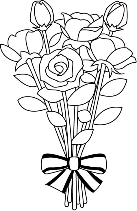 Wedding Flowers Clip Black And White by Bouquet Clipart Black And White Pencil And In Color