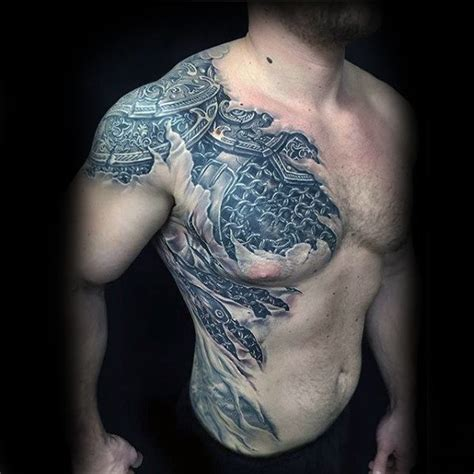 chest plate tattoos for men 40 3d chest designs for manly ink ideas