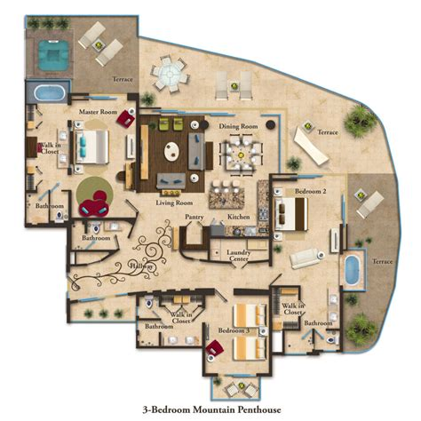 pent house floor plan suite layouts garza blanca residence club