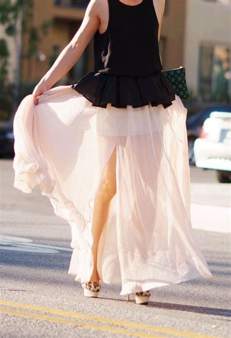 chocolate and peplum top and maxi skirt