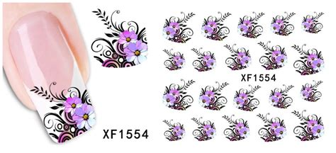 1 sheet purple flower design nail decals water transfer