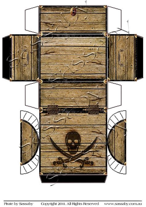 paper treasure chest template pirate s treasure chest box instant printable