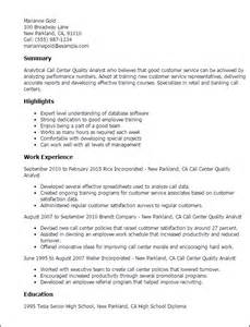 Call Center Quality Analyst Sle Resume professional call center quality analyst templates to showcase your talent myperfectresume