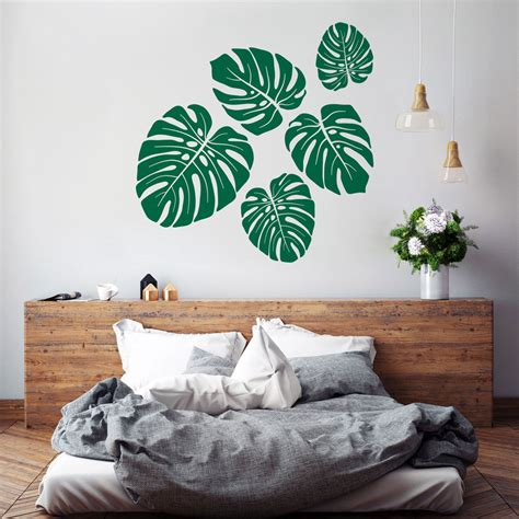 Wall Sticker Murah Transparan Monstera monstera wall decal tropical leaves pattern vinyl wall stickers for rooms bedroom interior