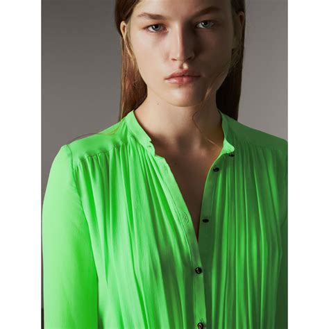 Dress Burberry 21226 gathered silk georgette dress in neon green