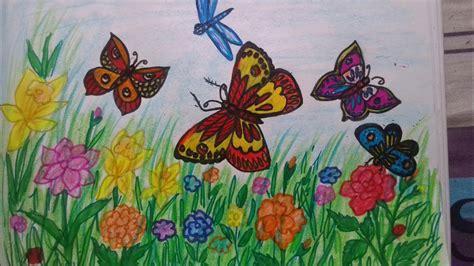 draw butterflies   garden youtube