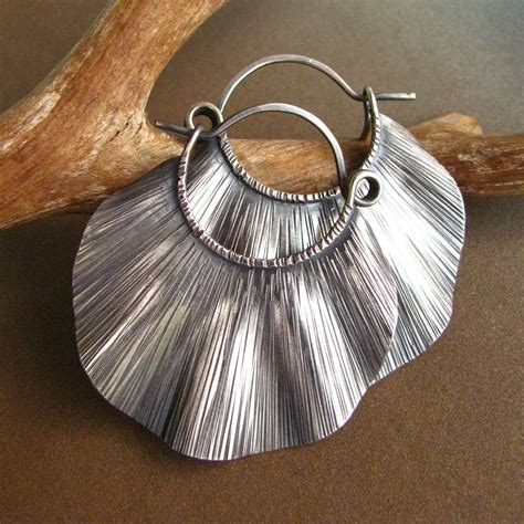 sterling silver statement earrings large silver hoops