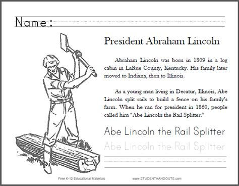abraham lincoln coloring pages for kindergarten abe lincoln the rail splitter primary worksheet student