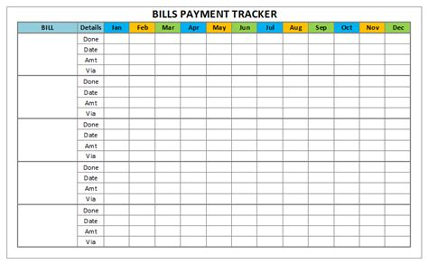 Bills Payment And Monthly Task Trackers Barat Ako Free Payment Tracker Template