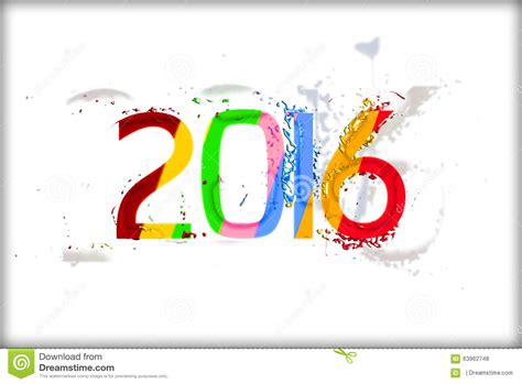 new year 2016 white background year 2016 text on white background in multicolors stock