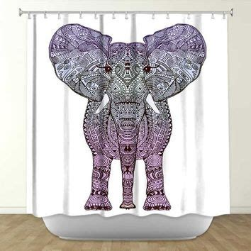 shower curtain elephant aztec purple elephant shower curtain from