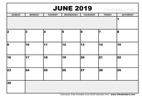 July 2019 Calendar Printable June 2019 Calendar Printable