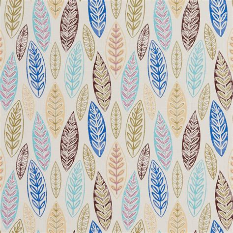 b0510d multi colored large leaves print upholstery fabric