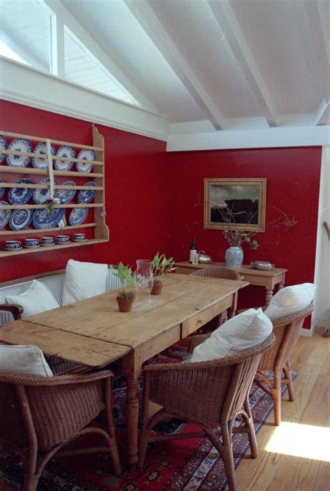 red dining room walls gorgeous blue willow dishes in dining room contemporary