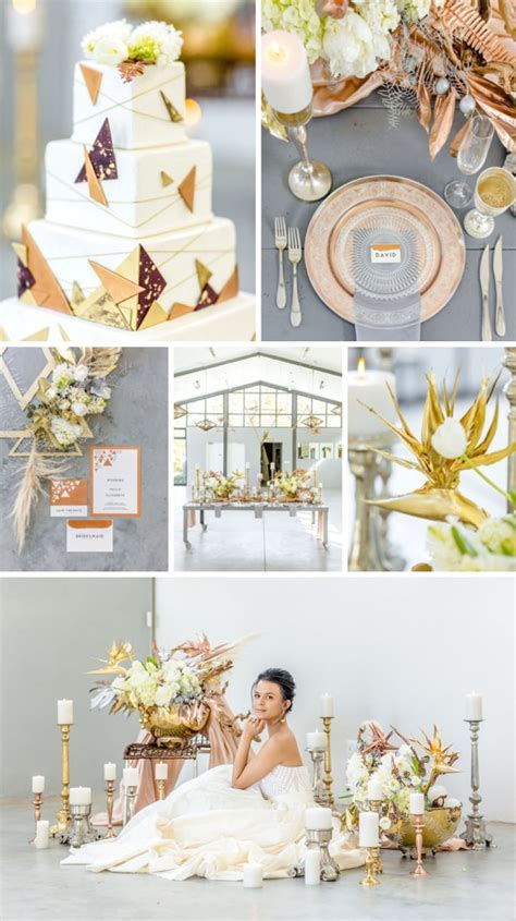 A Mix Of Suede And And Clairelavish Is An Amazing New Magazine That Fits Fashion With Knowledge lavish modern mixed metallics wedding inspiration by