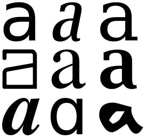 A In The glyph typography