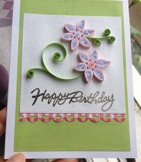 Handmade Au - handmade birthday card with quilling flowers