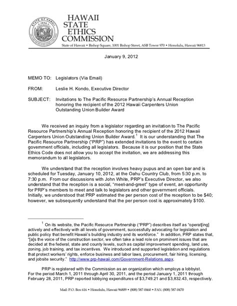 Support Letter For Business Partner Ethics Commission Memo On Pacific Resource Partnership Invite