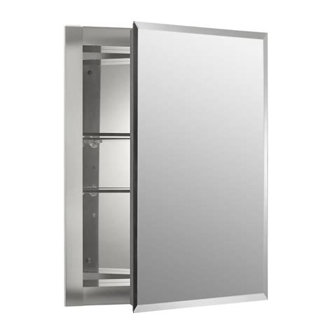 lowes recessed medicine cabinet kohler 16 in x 20 in rectangle recessed aluminum medicine