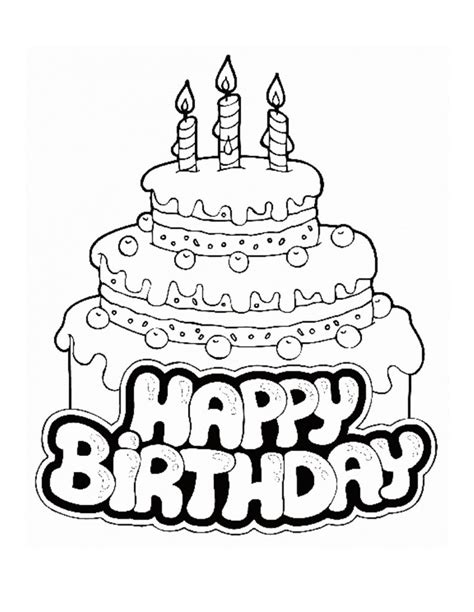 coloring pages printable happy birthday coloring pages
