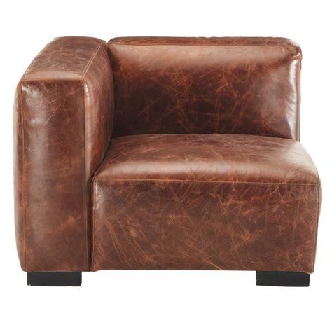 leather left sofa arm unit in brown maisons du monde