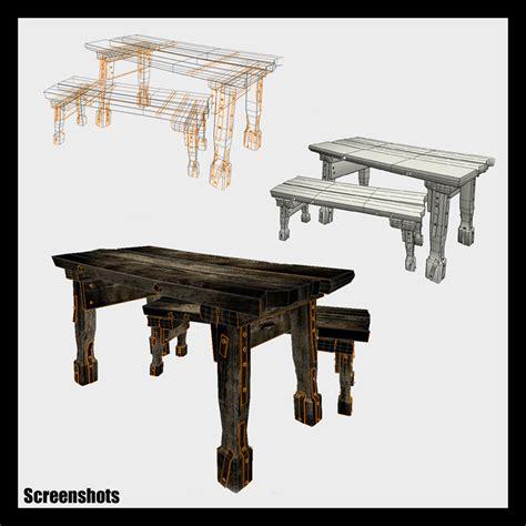 fantasy bench medieval fantasy table bench props scenes architecture