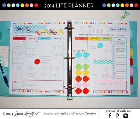 colourful printable monthly planner 2014 colorful life planner letter size monthly