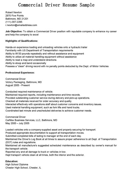 Resume Templates Cdl Driver Driver Resumes Commercial Driver Resume Sle