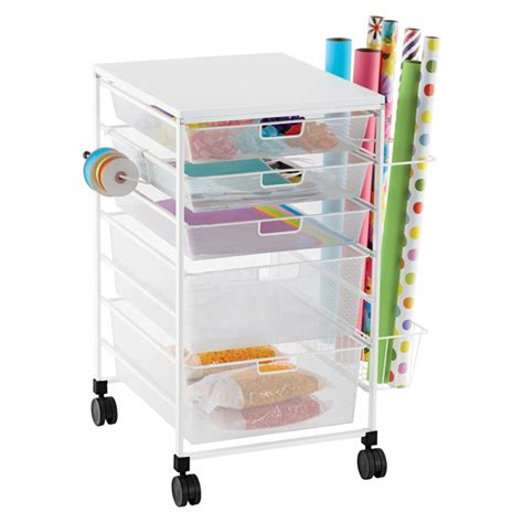container store gift wrap white elfa mesh gift wrap cart the container store