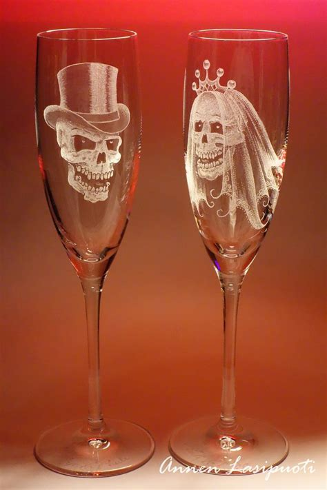 wedding glasses with skulls   Handmade engravings on glass