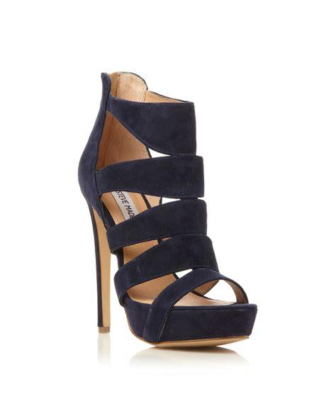 steve madden high heel sandals steve madden spycee caged high heel sandals in blue navy