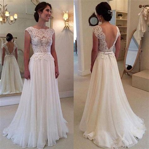 Elegante Brautkleider Mit Spitze by Lace Chiffon Wedding Dress With Bowknot Sash Open