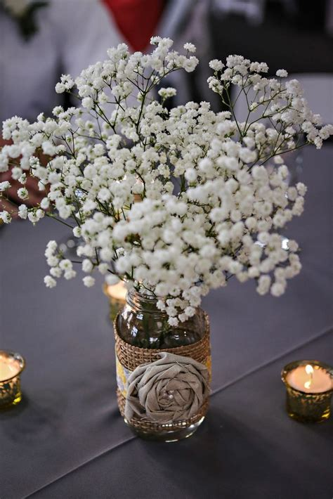 rustic baby s breath centerpiece