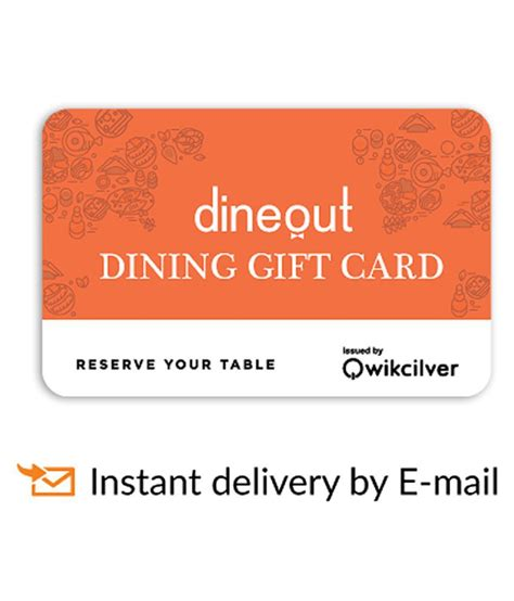 E Gift Card Instant Delivery - dineout e gift card for more than 1700 restaurants rs 1000 buy online on snapdeal