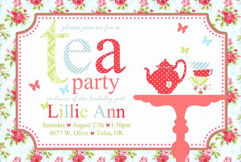 Vintage Bridal Shower Tea Party Invitation Template Tea Invitation Template Word