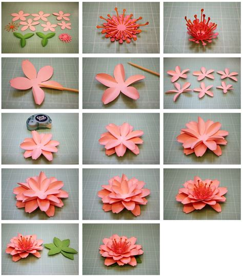 Paper Flower Steps - bits of paper daffodil and cherry blossom 3d paper