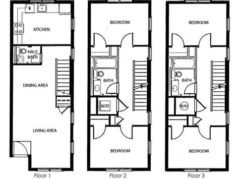 4 bedroom townhouse floor plans 4 bedroom 3 levels