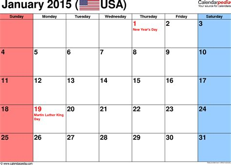 January 2015 Calendar Printable January 2015 Calendars For Word Excel Pdf
