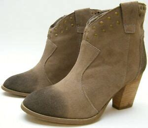 steve madden beige suede leather high heel studded ankle boots 8 5 m ebay