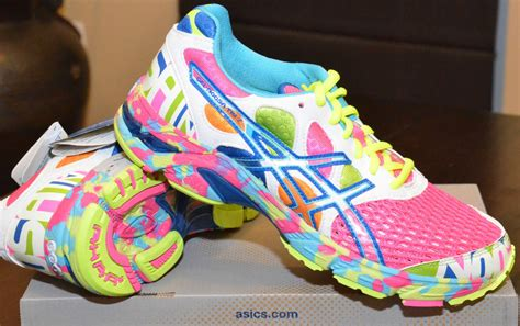 bright colored womens running shoes asics gel noosa tri 7 glow in the pink neon multi