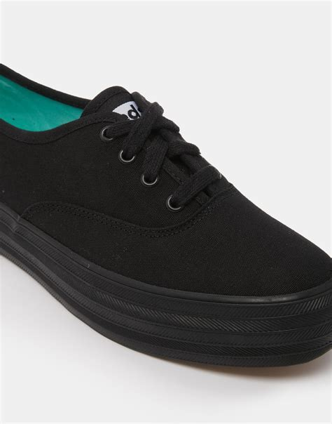 lyst keds black flatform sneakers in black